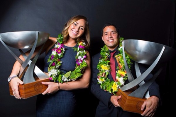 Carissa Moore (HAW) and Adriano de Souza (BRA) each nabbed brand new WSL World Championship Trophies at the WSL Awards on the Gold Coast of Australia on Monday March 7, 2016. Image: WSL / Kirstin