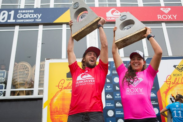 Matt Wilkinson (AUS) and Tyler Wright (AUS) reign supreme at the Quiksilver and Roxy Pro Gold Coast. Image: WSL / Kirstin
